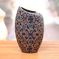 Ceramic decorative vase, 'Intricate Vines' - Ceramic Decorative Vase with Vine Motifs from Java