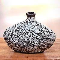 Ceramic decorative vase, 'Wishing Bottle' - Handcrafted Ceramic and Egg Shell Decorative Vase from Java