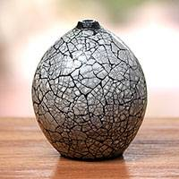 Ceramic decorative vase, 'Modern Crackle' - Round Ceramic and Egg Shell Decorative Vase from Java