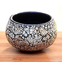 Ceramic decorative vase, 'Beautiful Well' - Short Ceramic and Egg Shell Decorative Vase from Java