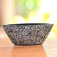 Ceramic decorative bowl, 'Shell Boat' - Modern Ceramic and Egg Shell Decorative Bowl from Java
