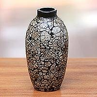 Ceramic decorative vase, 'Shell Elegance' - Bottle-Shape Ceramic and Egg Shell Decorative Vase from Java