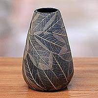 Ceramic decorative vase, 'Leafy Home' - Ceramic Decorative Vase with Natural Leaves from Java