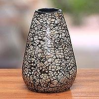 Ceramic decorative vase, 'Shell Volcano' - Handmade Ceramic and Egg Shell Decorative Vase from Java