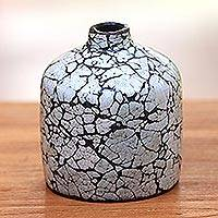 Ceramic decorative vase, 'Crackled Shell' - Bottle-Shape Ceramic and Egg Shell Decorative Vase from Java