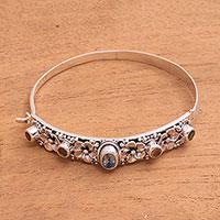 Blue topaz and citrine bangle bracelet,