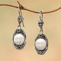 Peridot dangle earrings, 'Face of the Soul' - Peridot Face Motif Dangle Earrings from Bali