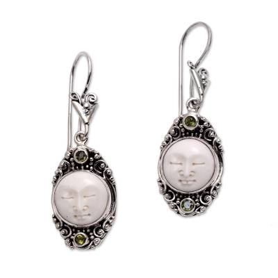 Peridot dangle earrings, 'Face of the Soul' - Peridot Face Motif Dangle Earrings from Bali
