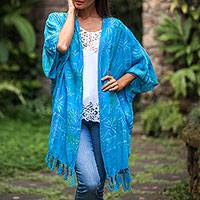 Batik rayon shawl jacket, 'Under the Palms' - Turquoise Hand Batiked Bamboo Leaf Motif Rayon Shawl Jacket