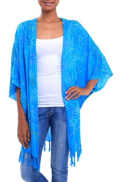 Batik rayon kimono jacket, 'Under the Palms' - Turquoise Hand Batik Bamboo Leaf Motif Rayon Kimono Jacket