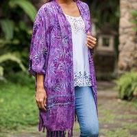 Batik rayon shrug, 'Denpasar Lady in Wisteria' - Leaf Motif Batik Rayon Shrug in Wisteria from Bali