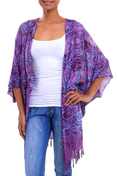 Batik rayon kimono jacket, 'Denpasar Lady in Wisteria' - Leaf Motif Batik Rayon Kimono Jacket in Wisteria from Bali