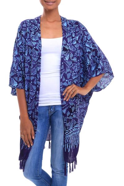 Batik rayon kimono jacket, 'Denpasar Royalty' - Batik Rayon Kimono Jacket in Imperial Purple from Bali
