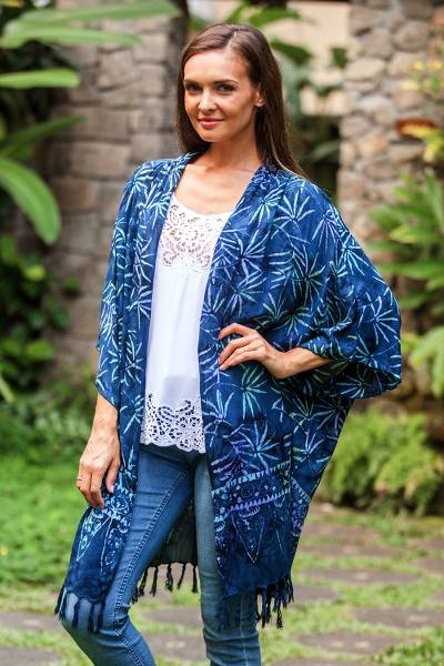 Batik rayon kimono jacket, 'Denpasar Lady in Blue' - Leaf Motif Batik Rayon Kimono Jacket in Blue from Bali