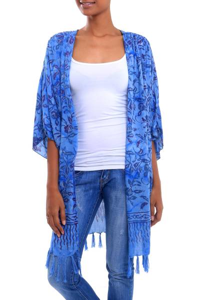 Batik rayon kimono jacket, 'Denpasar Roses' - Floral Batik Rayon Kimono Jacket in Sky Blue from Bali