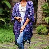 Batik rayon kimono jacket, 'Denpasar Majesty' - Batik Rayon Kimono Jacket in Mulberry and Iris from Bali