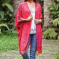 Batik rayon kimono jacket, 'Denpasar Garden' - Floral Batik Rayon Kimono Jacket in Poppy from Bali