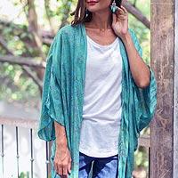 Batik rayon kimono jacket, 'Denpasar Elegance'
