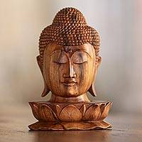 Wood sculpture, 'Buddha and Lotus' - Wood Sculpture of Buddha's Head on a Lotus Flower from Bali