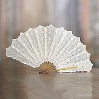 Leather hand fan, 'Srikandi The Wonder Woman' - Handmade White Leather Hand Fan with Hindu Design from Bali