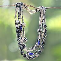 Batik silk strand necklace, 'Batik Lady' - Batik Silk and Glass Beaded Fabric Necklace from Java