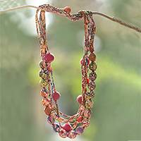 Cotton batik strand necklace, 'Colorful Parang' - Batik Cotton and Glass Beaded Fabric Necklace from Java