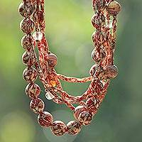 Cotton batik strand necklace, 'Batik Sunset' - Batik Cotton Fabric Necklace in Red from Java