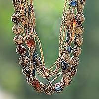 Batik cotton strand necklace, 'Batik Plateau' - Batik Cotton Strand Necklace in Beige from Java