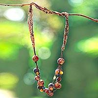 Batik cotton beaded fabric necklace, 'Sekar Colors' - Batik Cotton Beaded Fabric Necklace from Java