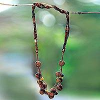 Batik cotton beaded fabric necklace, 'Bumi Colors' - Earth-Tone Batik Cotton Beaded Fabric Necklace from Java