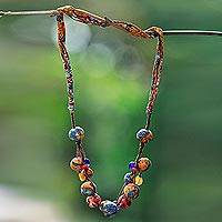 Batik cotton beaded fabric necklace, 'Mekar Colors' - Colorful Batik Cotton Beaded Fabric Necklace from Java