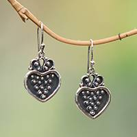 Sterling silver dangle earrings, 'Heart Overflowing' - Sterling Silver Heart and Dot Motif Dangle Earrings