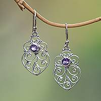 Amethyst dangle earrings, 'Enchanted Heart' - Amethyst Sterling Silver Scrollwork Heart Dangle Earrings