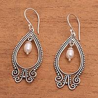 Cultured pearl dangle earrings, 'Glowing Lanterns' - Sterling Silver Teardrop Cultured Pearl Earrings from Bali