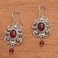 Gold accent carnelian dangle earrings, 'Spice Palace' - 18k Gold Accent Sterling Silver Carnelian Frame Earrings