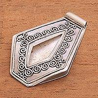 Sterling silver money clip, 'Swirling Path' - Artisan Crafted Sterling Silver Swirl Money Clip from Bali