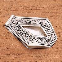 Sterling silver money clip, 'Jawan Jazz' - Handcrafted Sterling Silver Dotted Motif Money Clip