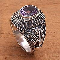 Amethyst cocktail ring, 'Sakah Temple' - Sterling Silver and Faceted Amethyst Temple Cocktail Ring