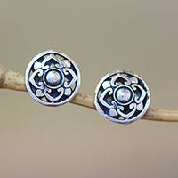 Sterling silver stud earrings, 'Lotus Kingdom' - Handcrafted Round Sterling Silver Lotus Flower Stud Earrings