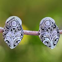 Sterling silver drop earrings, 'Pointed Elegance' - Sterling Silver Scrolling Leaf Motif Drop Earrings from Bali