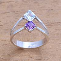 Blue topaz and amethyst cocktail ring, 'Twinkling Twilight' - Amethyst and Blue Topaz Sterling Silver Cocktail Ring