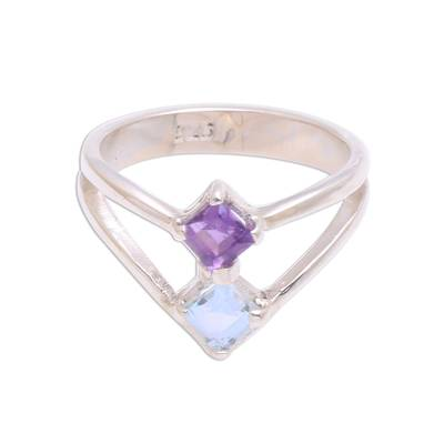Amethyst and Blue Topaz Sterling Silver Cocktail Ring