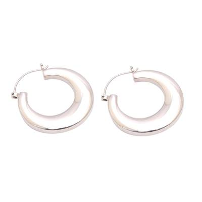 Sterling silver hoop earrings, 'Bold Glamour' - Sterling Silver Hoop Earrings Crafted in Bali