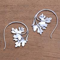 Sterling silver drop earrings, 'Leafy Canopy' - Leaf-Shaped Sterling Silver Drop Earrings from Bali