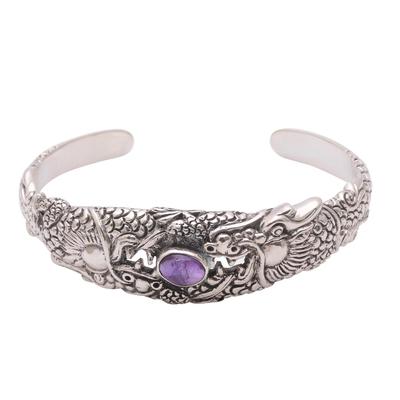 Amethyst cuff bracelet, 'Blazing Basuki' - Dragon-Themed Amethyst Cuff Bracelet from Bali