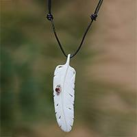 Garnet and bone pendant necklace, 'Feather Soul' - Garnet Leather and Carved Bone Feather Pendant Necklace