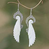 Sterling silver and bone dangle earrings, 'Ready to Fly' - Sterling Silver and Bone Wing Dangle Earrings from Bali