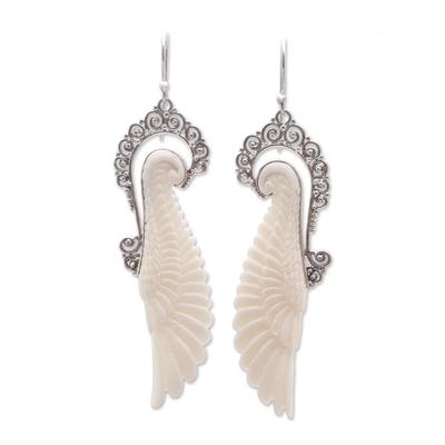 Sterling silver and bone dangle earrings, 'Ready to Fly' - Sterling Silver and Bone Wing Dangle Earrings from Bali