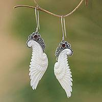 Garnet dangle earrings, 'Free Angel' - Garnet and Bone Wing Dangle Earrings from Bali