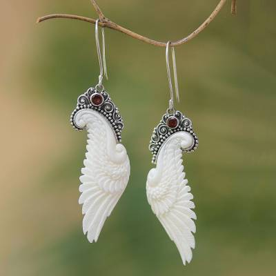 Garnet and bone dangle earrings, 'Free Angel' - Garnet and Bone Wing Dangle Earrings from Bali